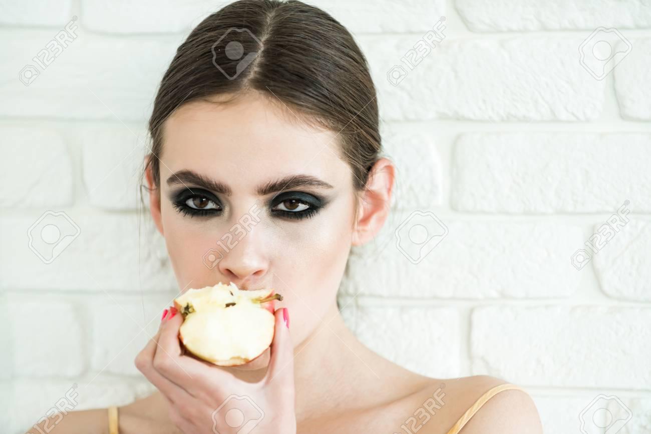 Nutrition Healthy Lifestyle Woman Eat Apple On White Brick Stock