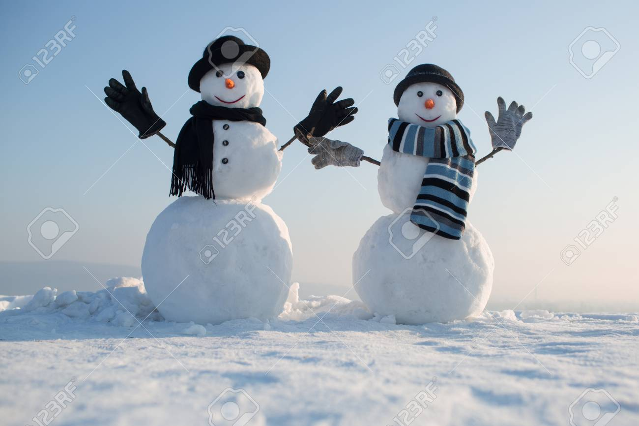 Christmas and winter fashion. New year snowman spy agent. Snowman gentleman in winter black hat, scarf and gloves. Happy holiday celebration. Xmas or christmas party. - 90406773