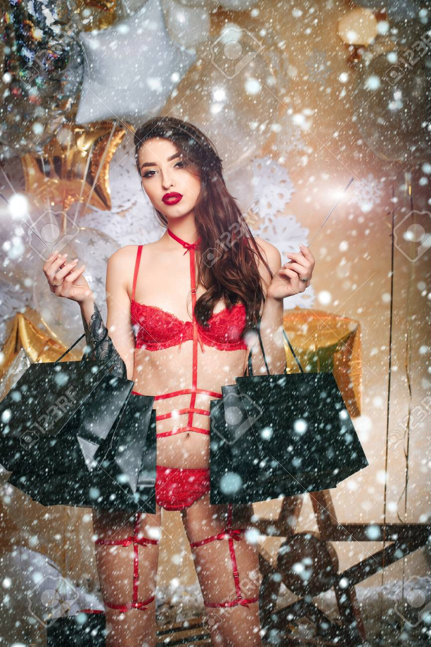 Christmas New Year Snow Concept Shopping And Glamour, Pretty.. Stock ...