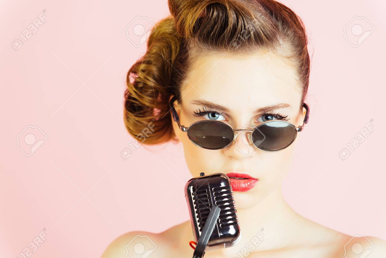 Woman Singer With Stylish Retro Hair And Makeup Pin Up Young