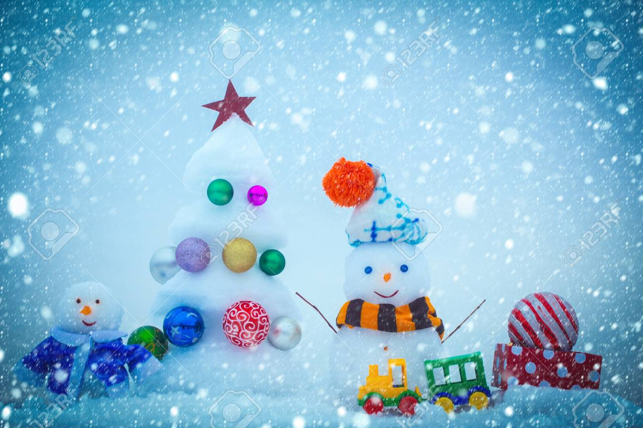Christmas Snow.New Year Christmas Snow Concept Snow Sculptures On Blue Background