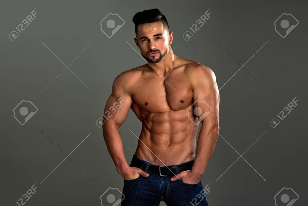 Coach Sportsman With Bare Chest In Jeans Man With Muscular Body