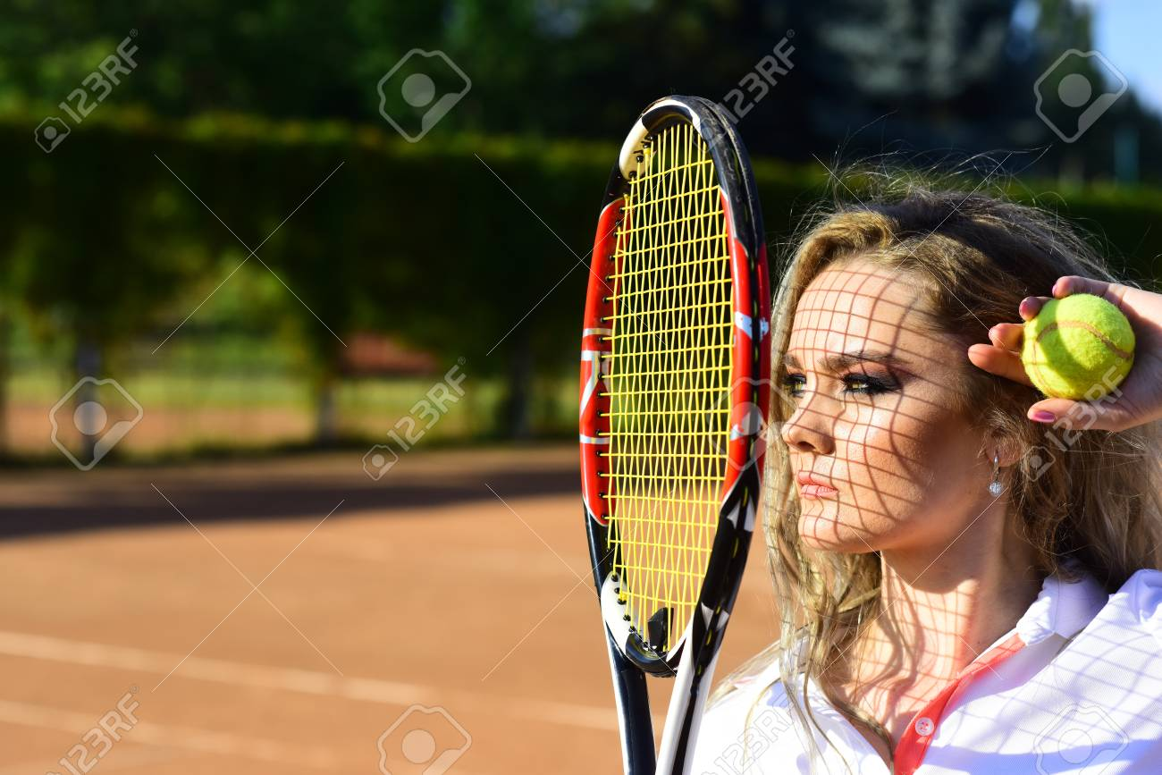 Woman With Net Shadow On Face On Sunny Day. Girl Player With.. Stock ... de313d43d3