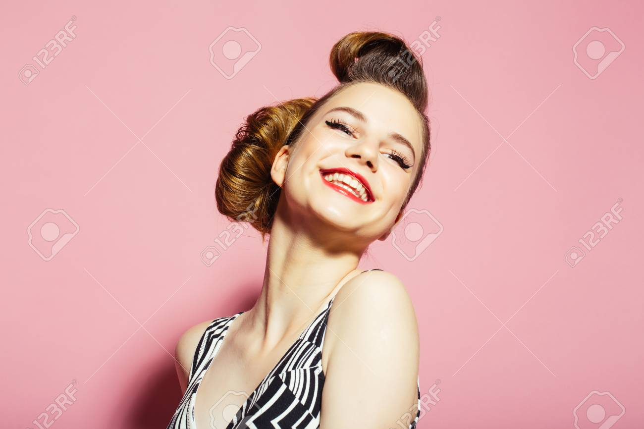 e785c4b33f pinup, youth and look. Beauty and fashion, cosmetics. Woman with retro hair