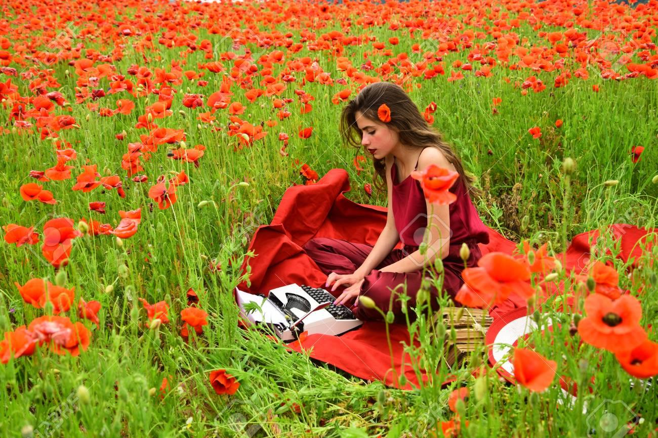 Opium Poppy Agile Business Ecology Woman Writer In Poppy Flower