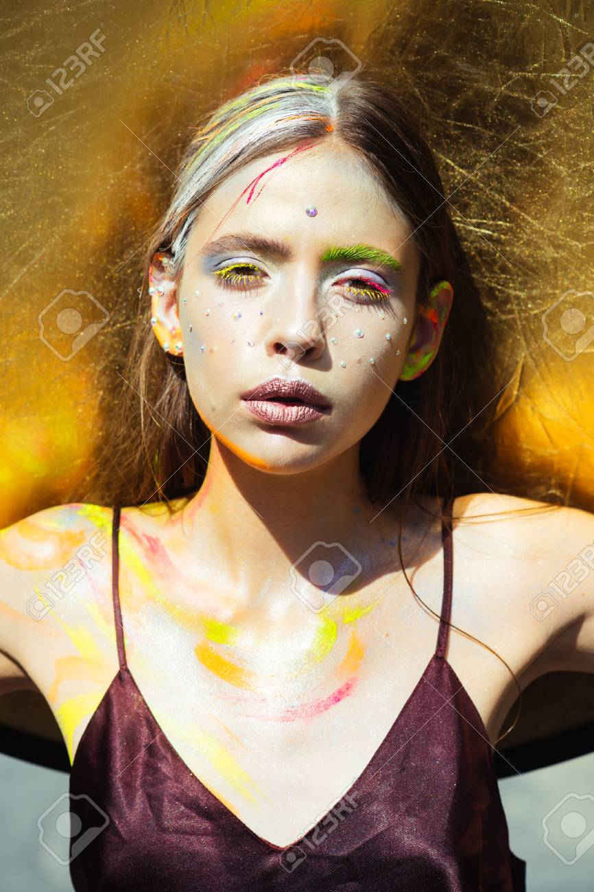 Indian Woman With Colorful Makeup Face Body Art Paint Party
