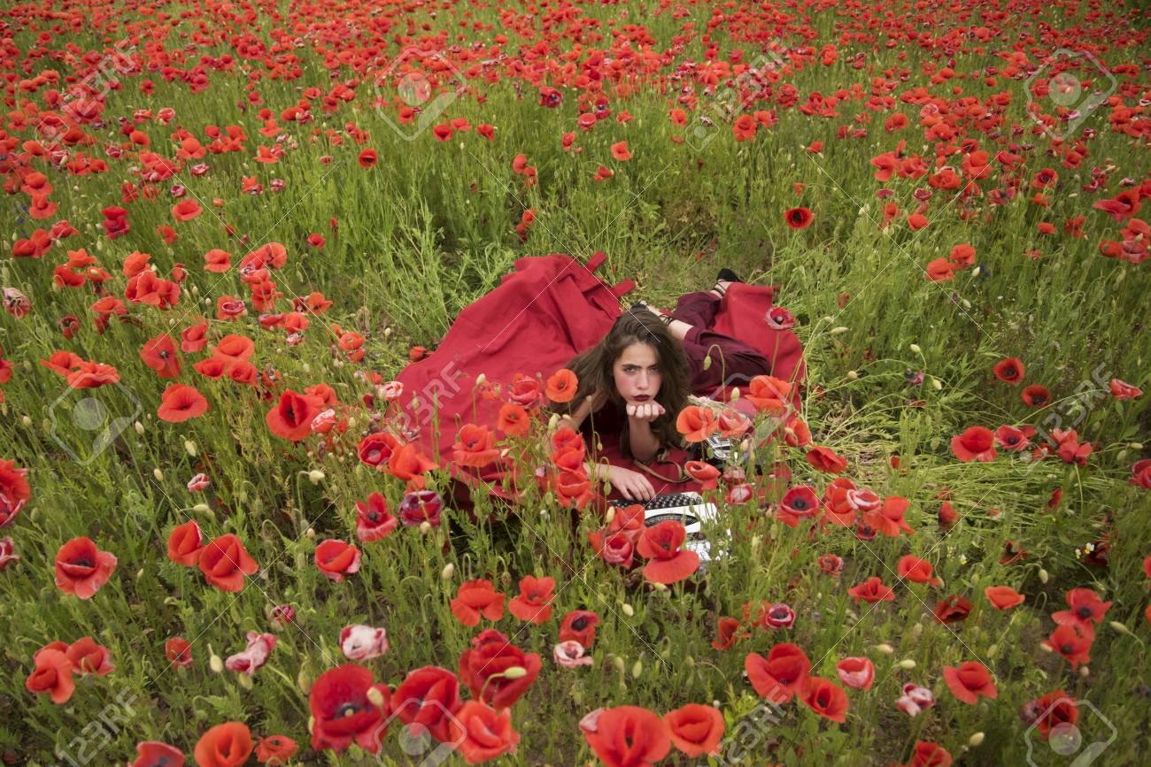 Woman Writer In Poppy Flower Field Drug Narcotics Opium Woman