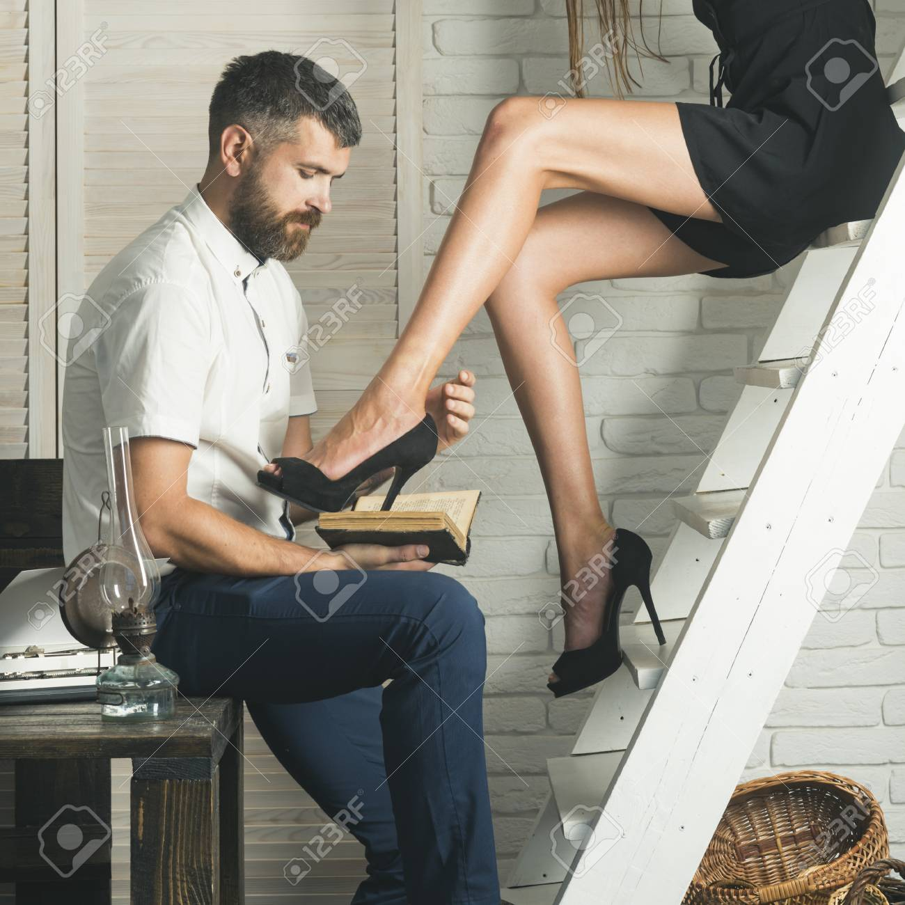 Information Knowledge Idea Bearded Man Read Book With Sexy
