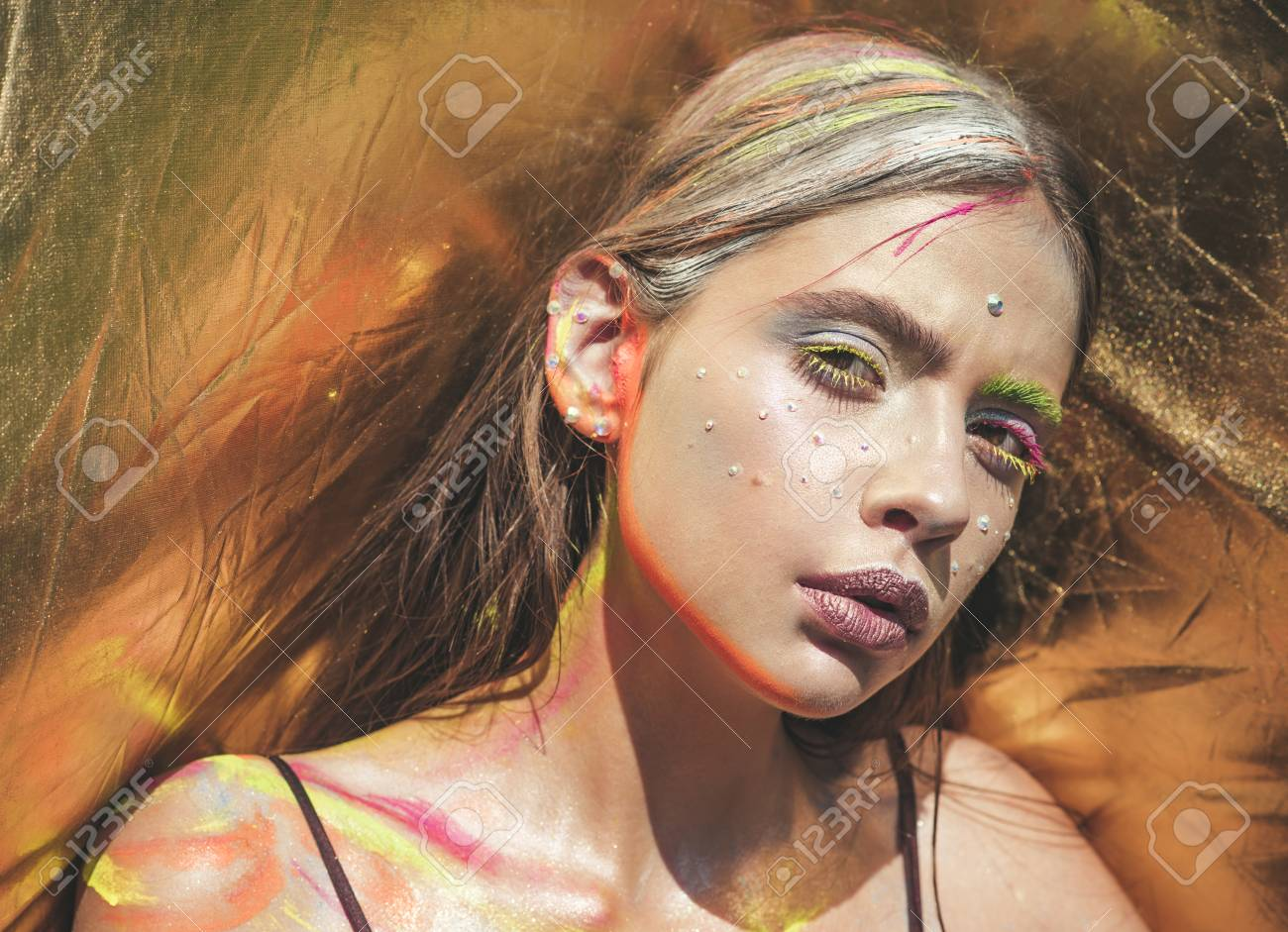 Holi Indian Culture Indian Woman With Colorful Neon Paint Makeup