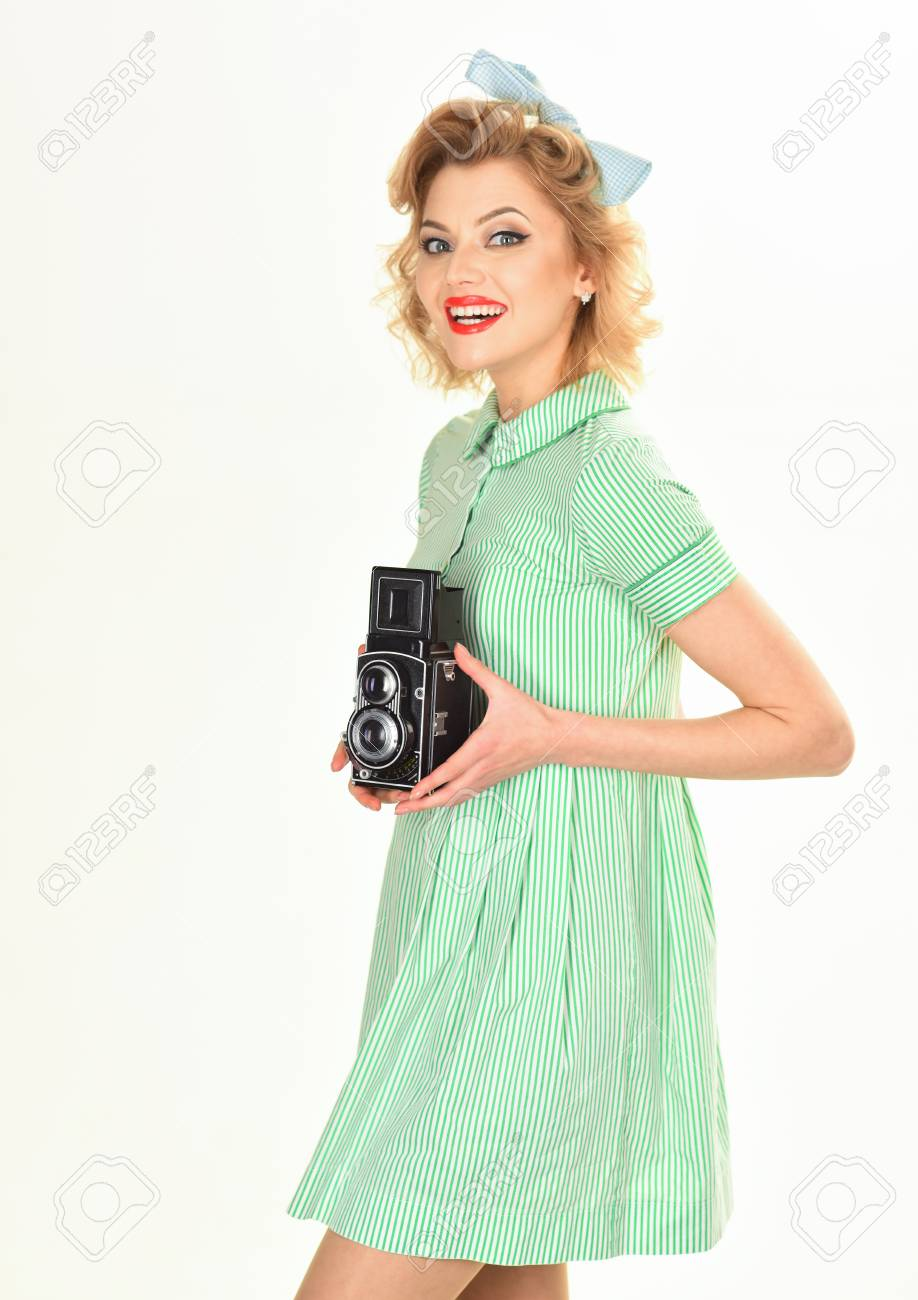 Woman With Retro Hair Makeup And Old Camera Pin Up Pretty Fashion
