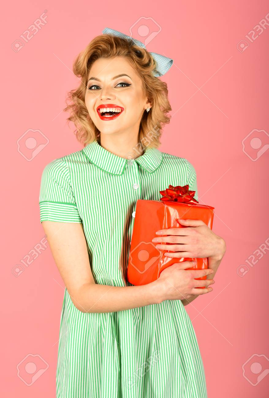 Boxing Day Black Friday Birthday Retro Woman With Present Stock