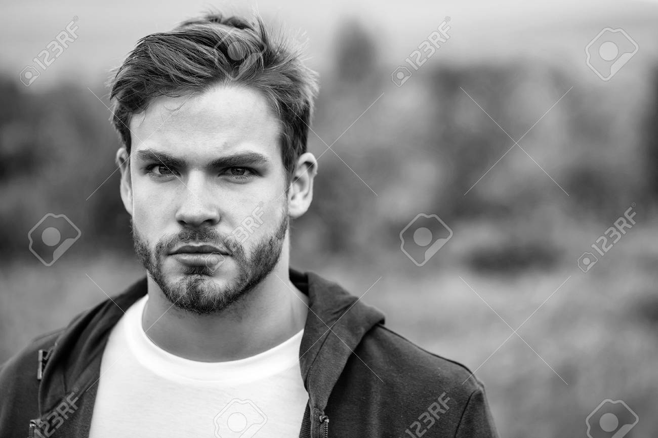 Young Guy With Bearded Handsome Sexy Serious Face Blue Eyes Brown