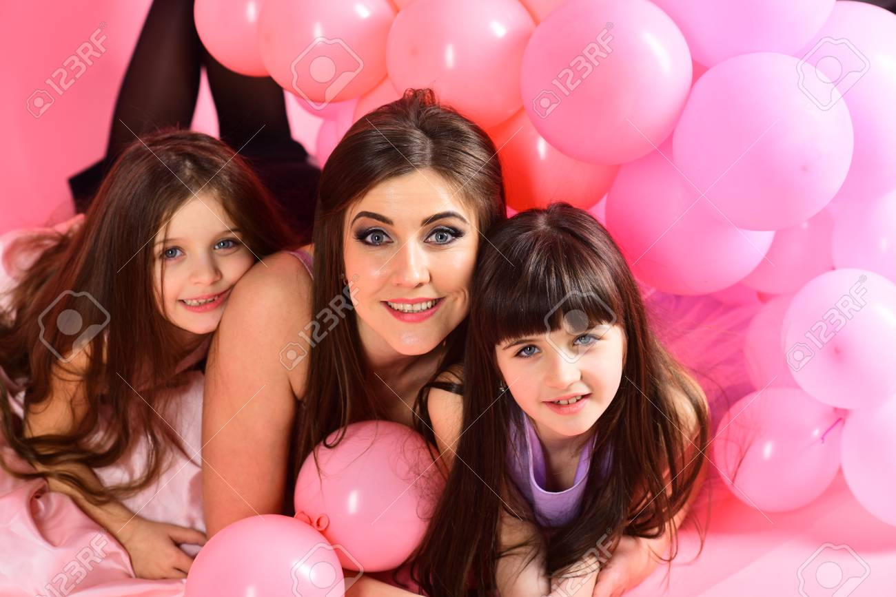 Little Girls Mom In Pink Balloons With Birthday