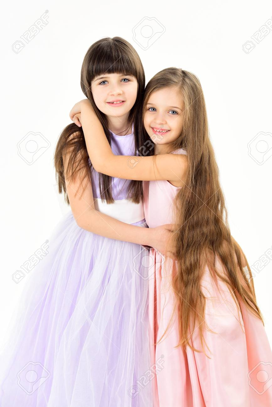 Little Girls Sister With Long Hair Isolated On White Little Stock
