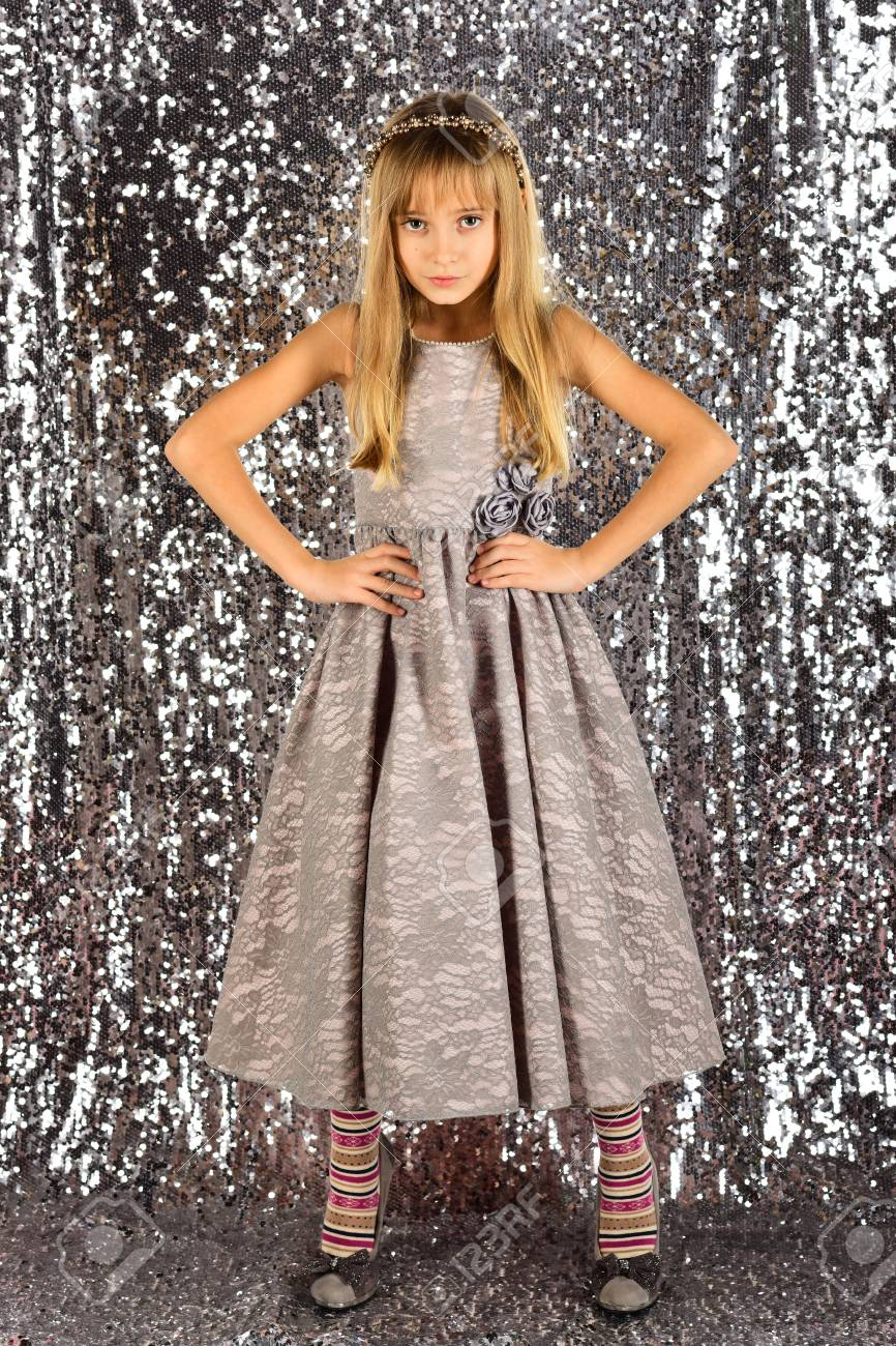 6fd13c75951c Look, hairdresser, makeup. Child girl in stylish glamour dress, elegance.  Fashion