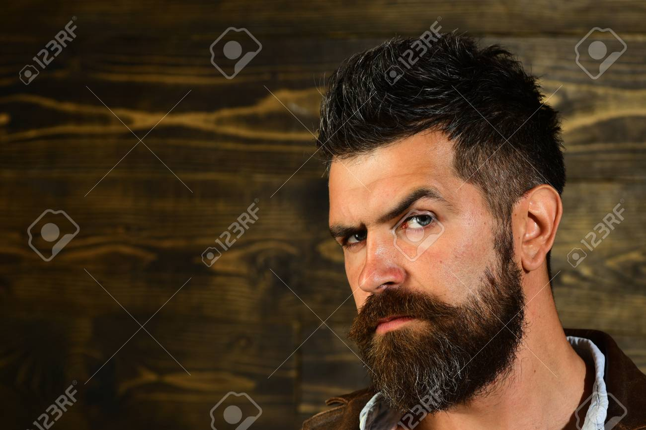 Man With Beard And Mustache On Wooden Background Haircut Of Stock Photo Picture And Royalty Free Image Image 99431220
