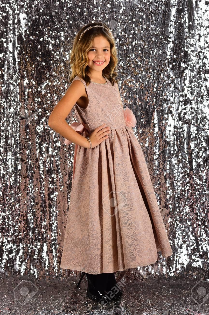 1227b1704485 Look, hairdresser, makeup. Child girl in stylish glamour dress, elegance.  Little