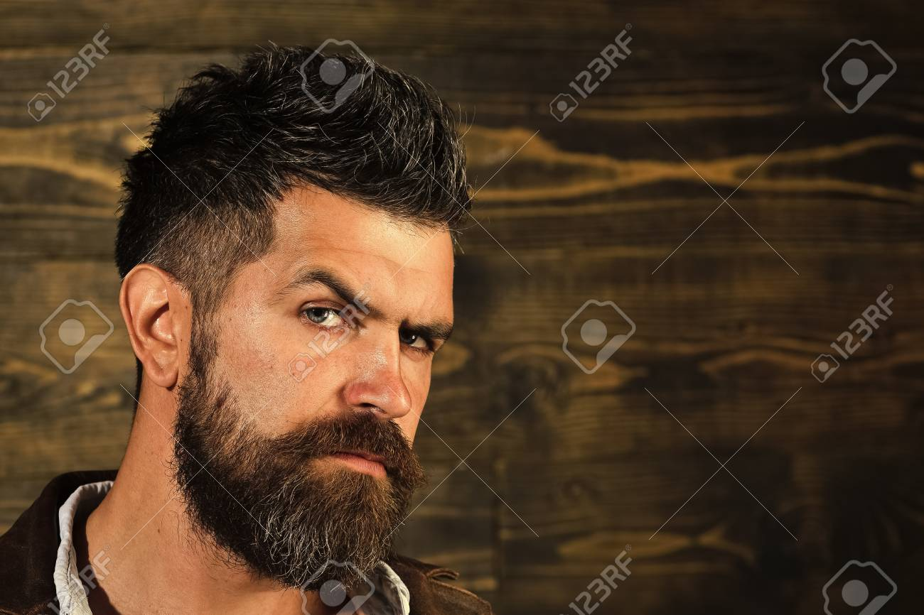 Man With Beard And Mustache On Wooden Background Haircut Of Stock Photo Picture And Royalty Free Image Image 101181165