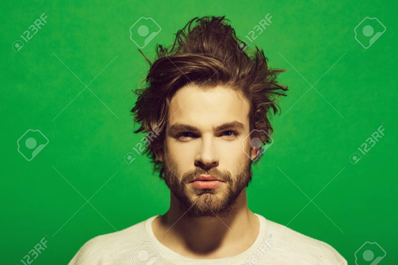 sleepy man. morning wake up of man with beard and long hair - 103093460