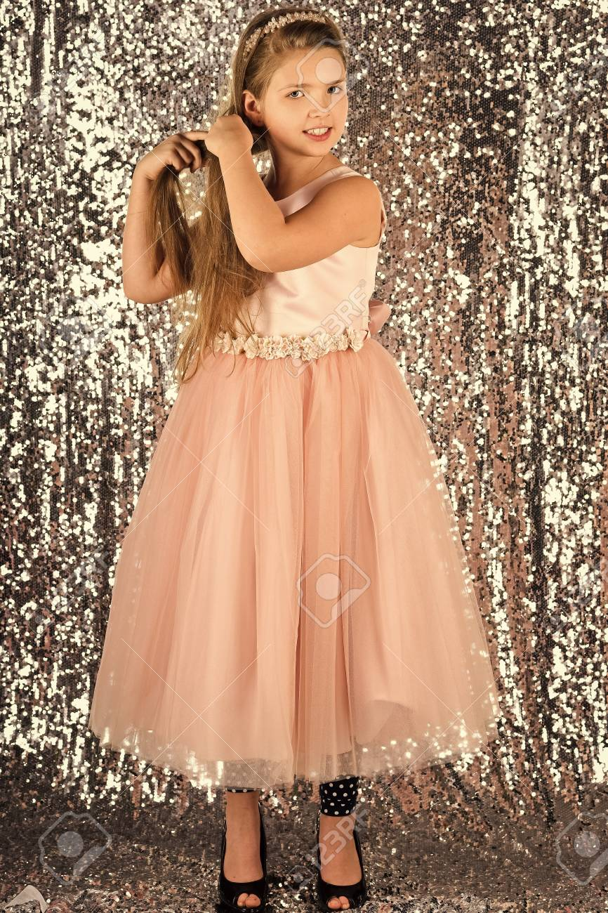 9899c0a43874 children model. Child girl in stylish glamour dress, elegance. Look,  hairdresser,