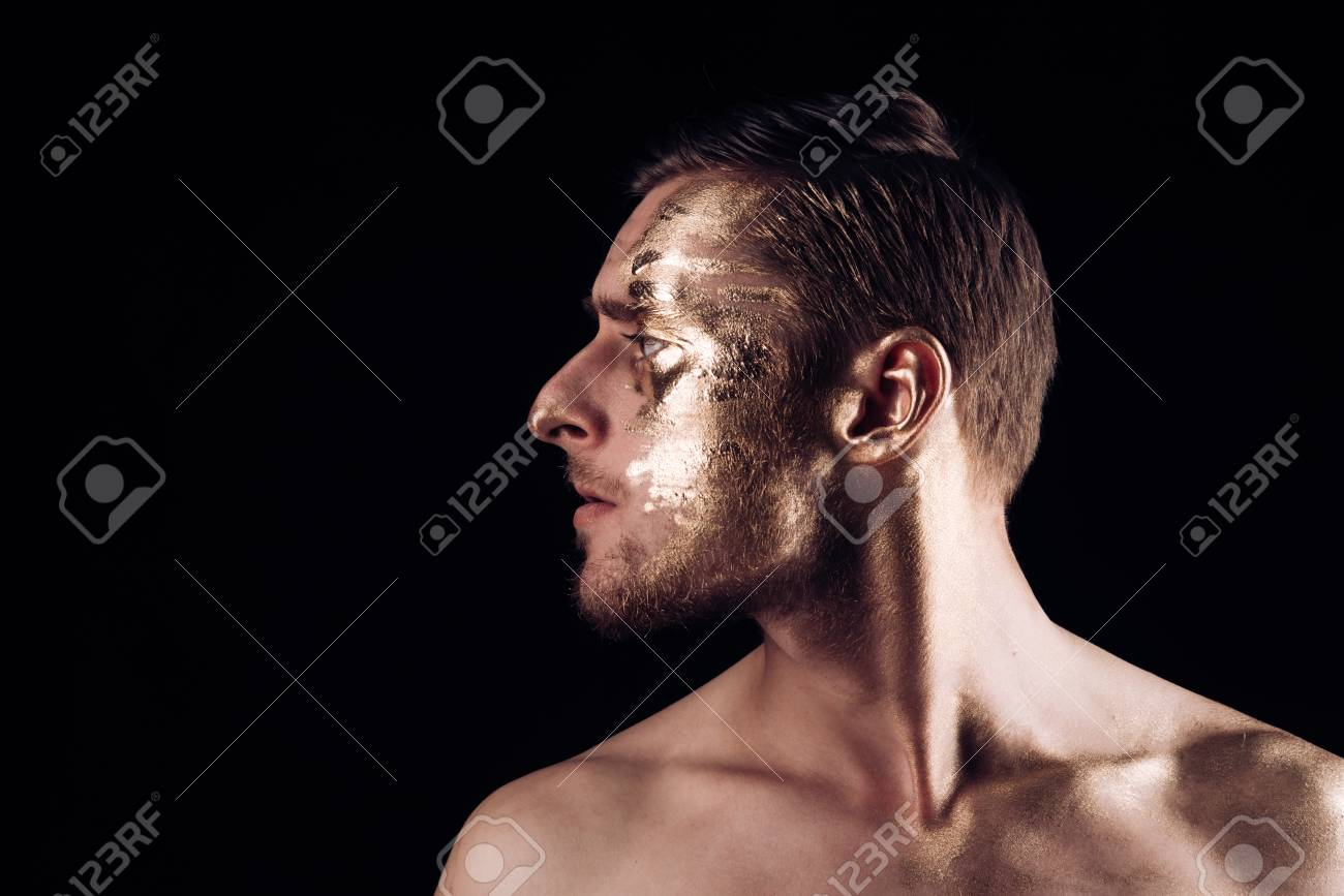 Body Art Paint With Gold On Face Of Man Man Has Golden Body Stock Photo Picture And Royalty Free Image Image 104189289