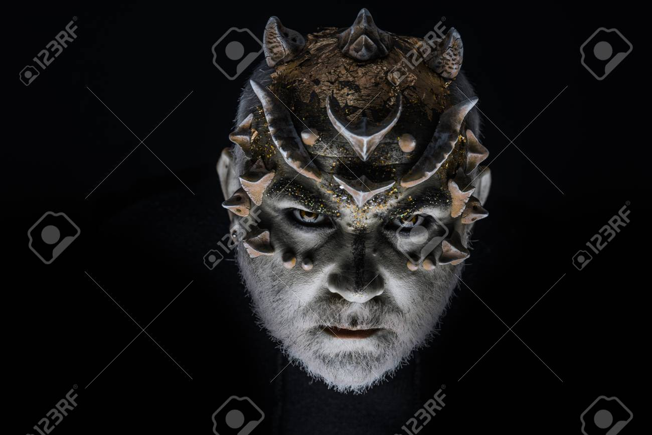 Alien Demon Sorcerer Makeup Head With Thorns Or Warts Face Stock Photo Picture And Royalty Free Image Image 106019034