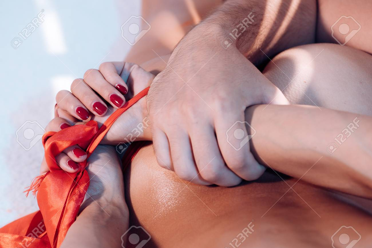 Woman tied up and having sex