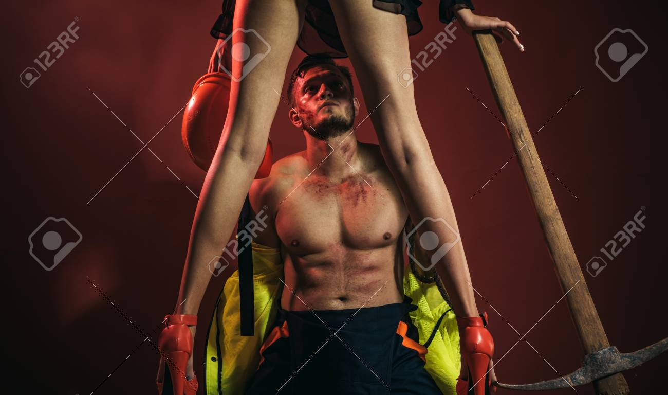 Hot Sexy Firefighter Firefighters Sexy Body Muscle Man Holding Stock Photo Picture And Royalty Free Image Image 108161143