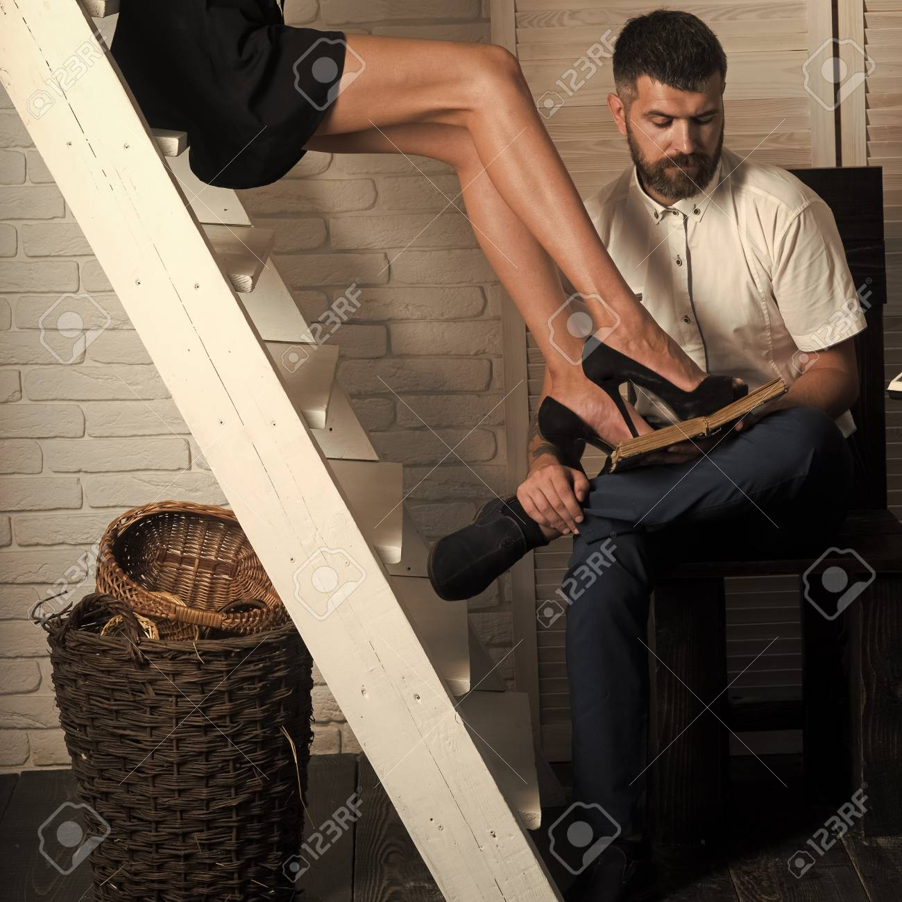 Education Study Learning Bearded Man Read Book With Sexy Female