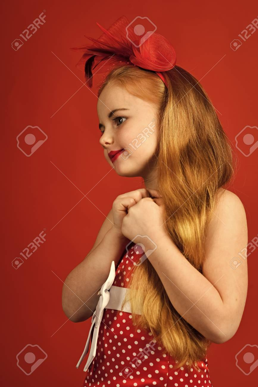 Fashion And Beauty Pinup Style Childhood Retro Look Hairdresser