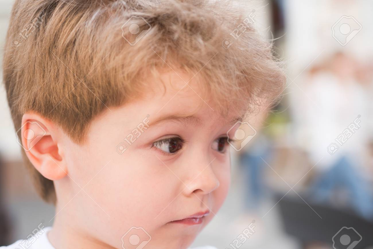 Little Child With Stylish Haircut. Little Child With Short Haircut ...