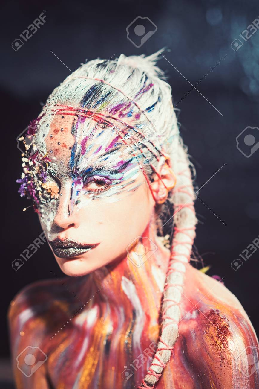 Woman With Colorful Neon Paint Makeup Indian Woman With Creative Stock Photo Picture And Royalty Free Image Image 119664245