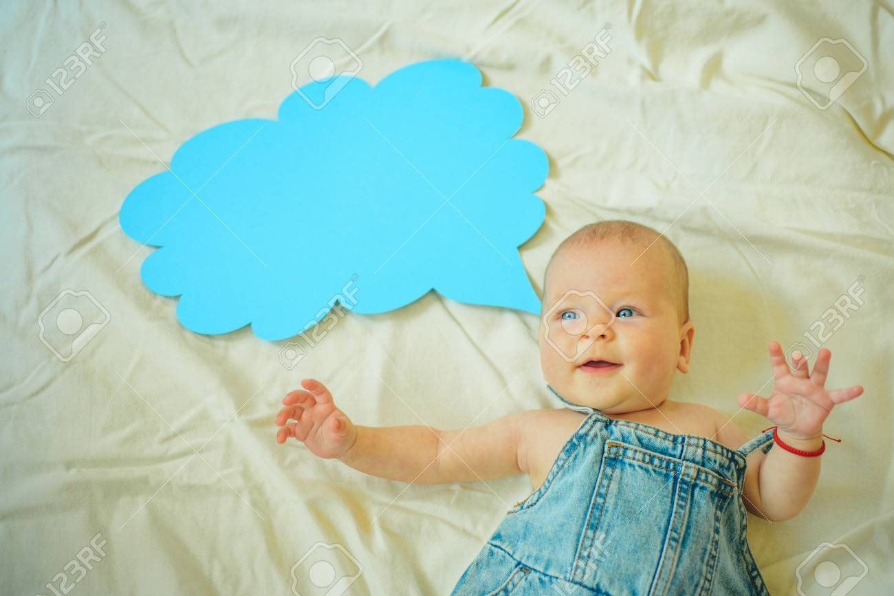 Im proud of you. Childhood happiness. Sweet little baby. New life and birth. Family. Child care. Childrens day. Small girl. I can speak. Word in cloud. Portrait of happy little child. - 118381947