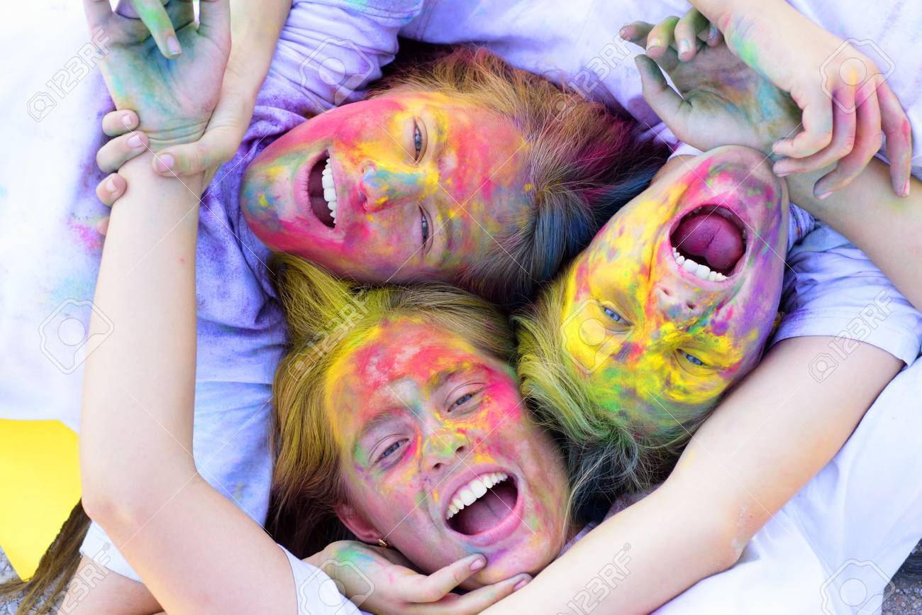Family Time Children With Creative Body Art Crazy Hipster Girls
