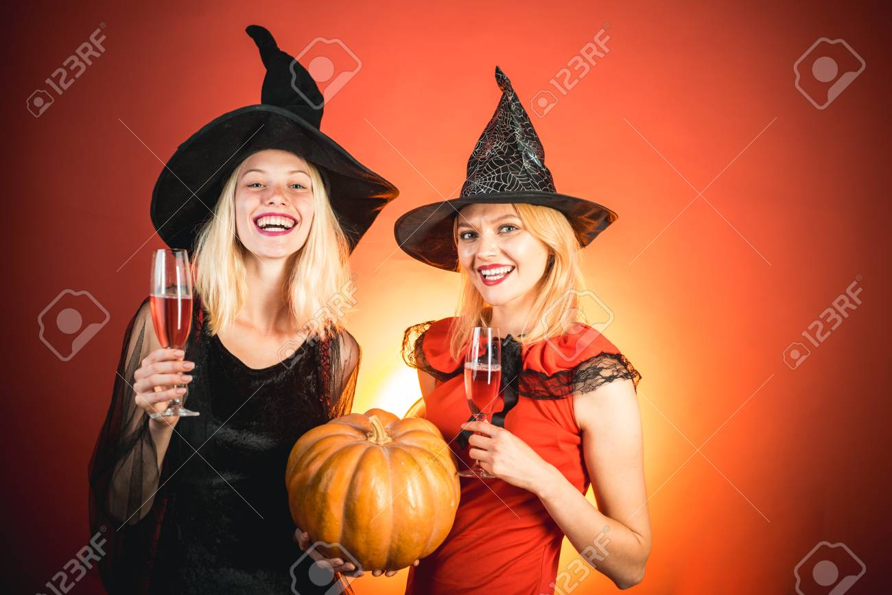 Halloween Costumes For Two Friends.Frightened Friends With Dog At A Halloween Party Best Friends
