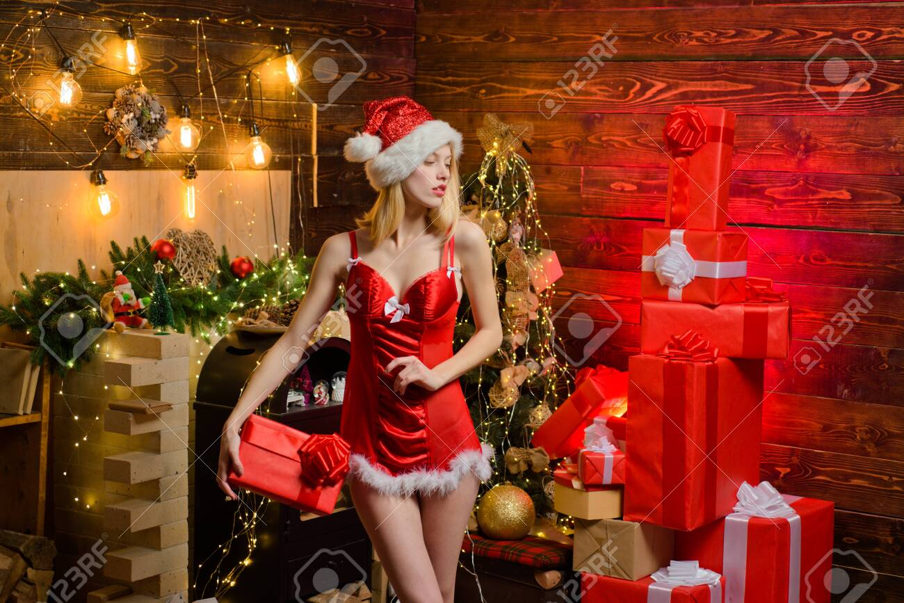 Sexy Erotic Girl Celebrate New Year And Merry Christmas Red