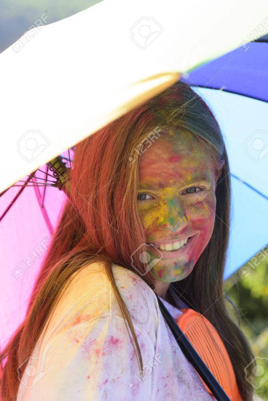 Rainbow Hairstyles Positive Cheerful Child With Creative Body