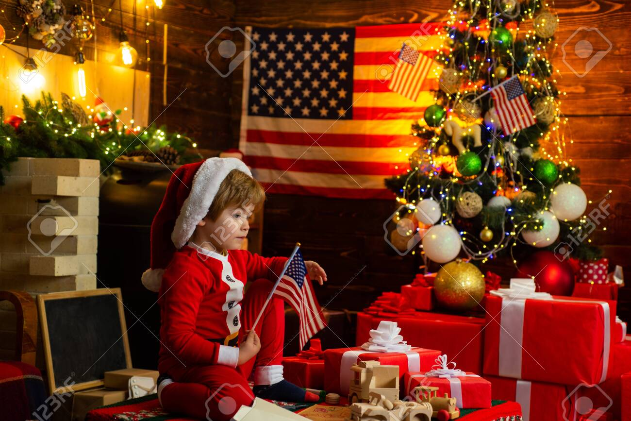 Toddler Christmas Tree Costume.Kid Play American Flag Christmas Tree Little Boy Santa Hat And