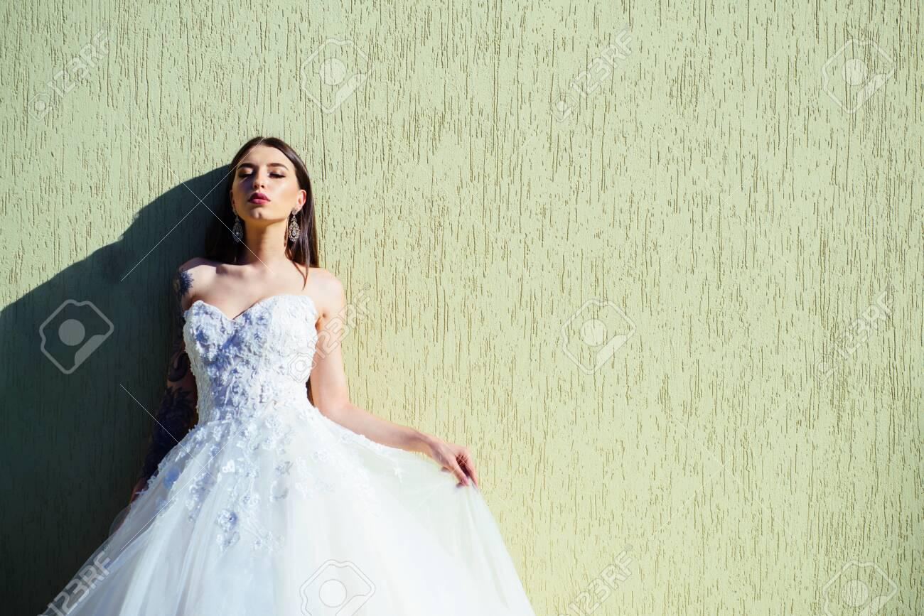 Woman Is Preparing For Wedding. Happy