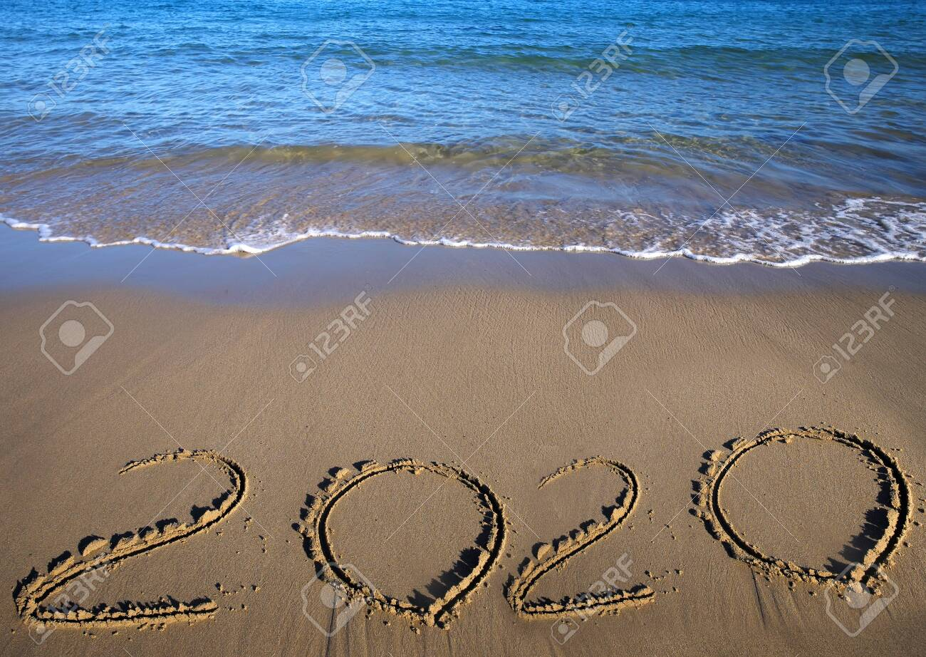 Christmas Beach Holidays 2020 Sand Beach Drawing 2020. Happy New 2020 Year. Merry Christmas