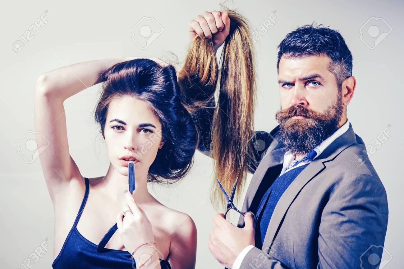 Beauty girl with Healthy Hair. Long hair. Fashion haircut. Hairdresser, beauty salon. Styling cut for very long hair. - 140116735