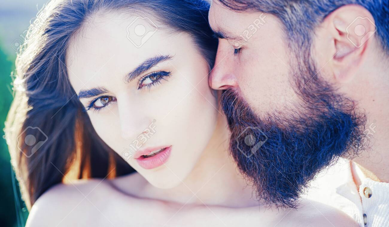 Romantic portrait of a sensual couple in love. Young couple having passionate intense sex. Human emotions youth love and lifestyle concept. - 140892898