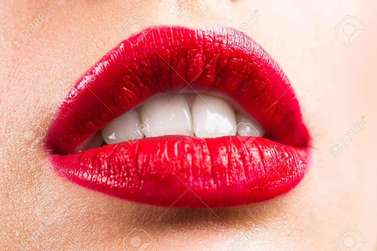 Girl open mouth close up with red lipstick make up. Sensual lips. Sexy lips, open mouth. - 147953516