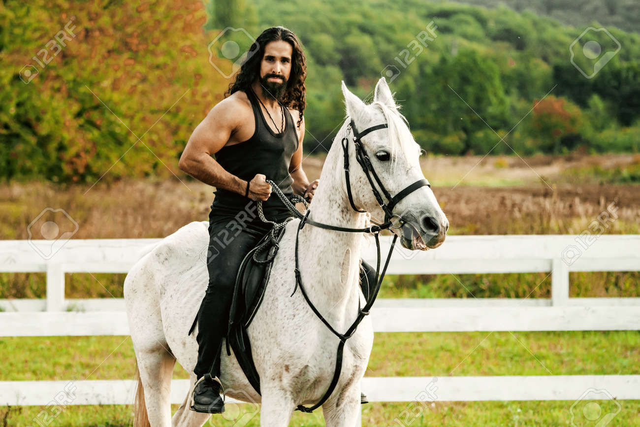Rider on gray arabian horse in the field. Handsome bearded man riding horse at farm. Beautiful horse with man rider trotting on autumnal field. Equestrian and animal love concept. - 157694330