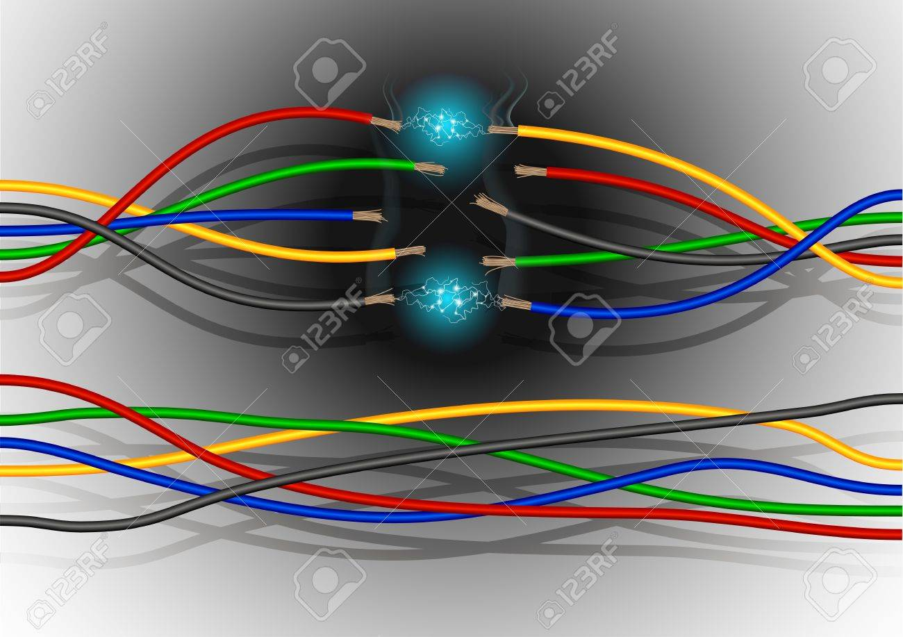 Colored Electric Wires With Sparks, Smoke And Soot Stock Photo ...