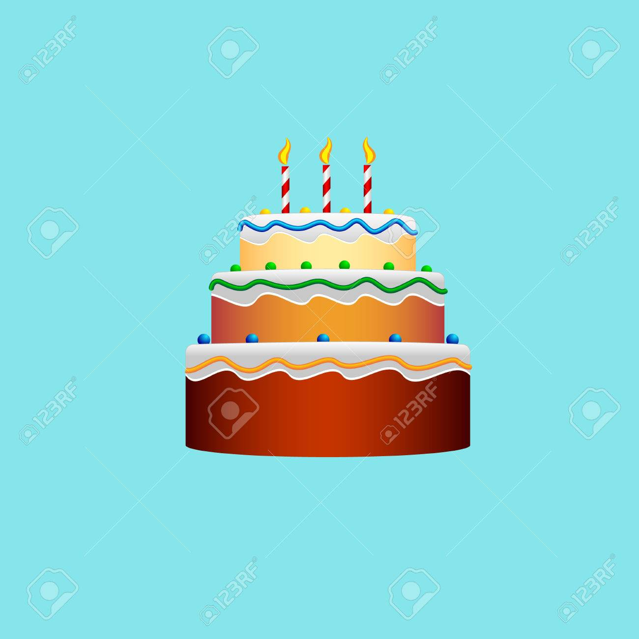 Colorful Birthday Cake In The Style Of A Flat Designicon With