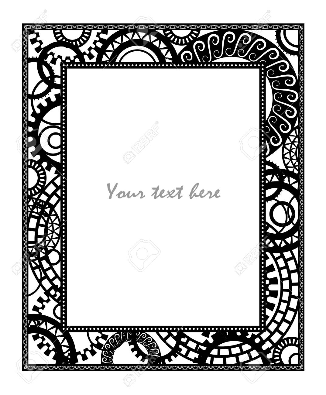Steampunk Style. Template Steampunk Design For Card. Frame For ...