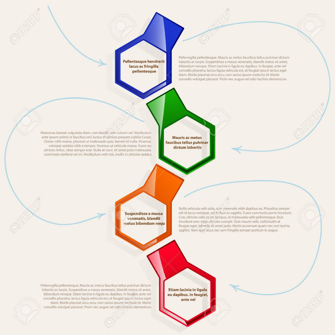 Cuadros De Color. Cuatro Marcos Hexagonales Para El Texto O La ...