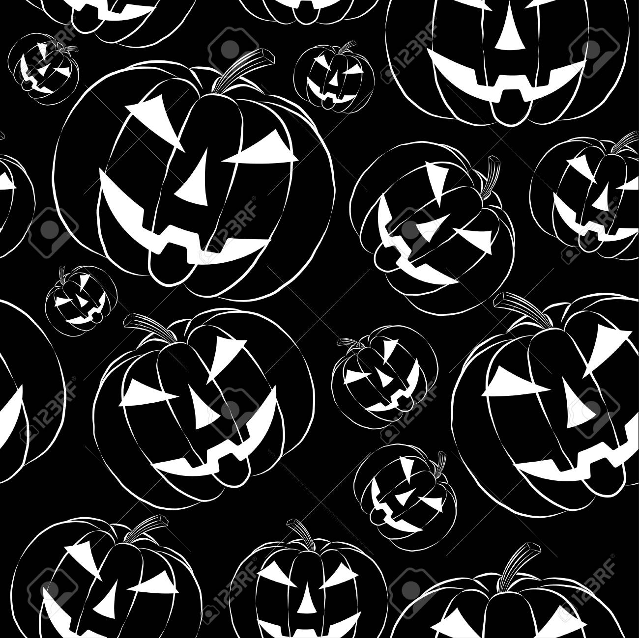 Pumpkin Lantern In Outline Style Seamless Wallpaper On Black Royalty Free Cliparts Vectors And Stock Illustration Image 67579609