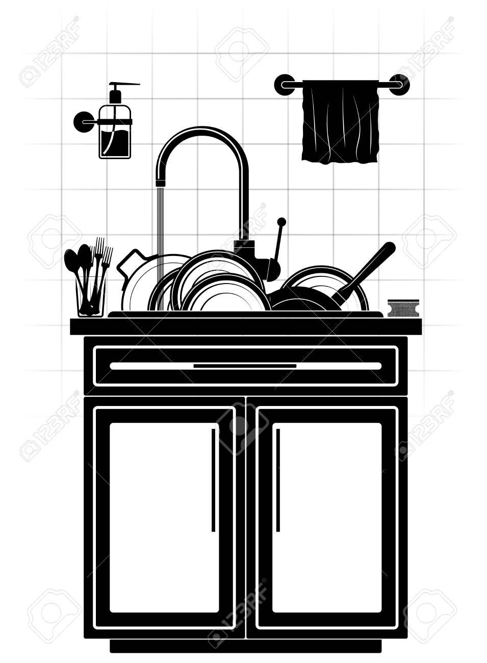 Une montagne de plats sales sales dans l\'évier de la cuisine. Assiettes,  casserole et poêle à frire. Mur carrelé et meubles de cuisine.